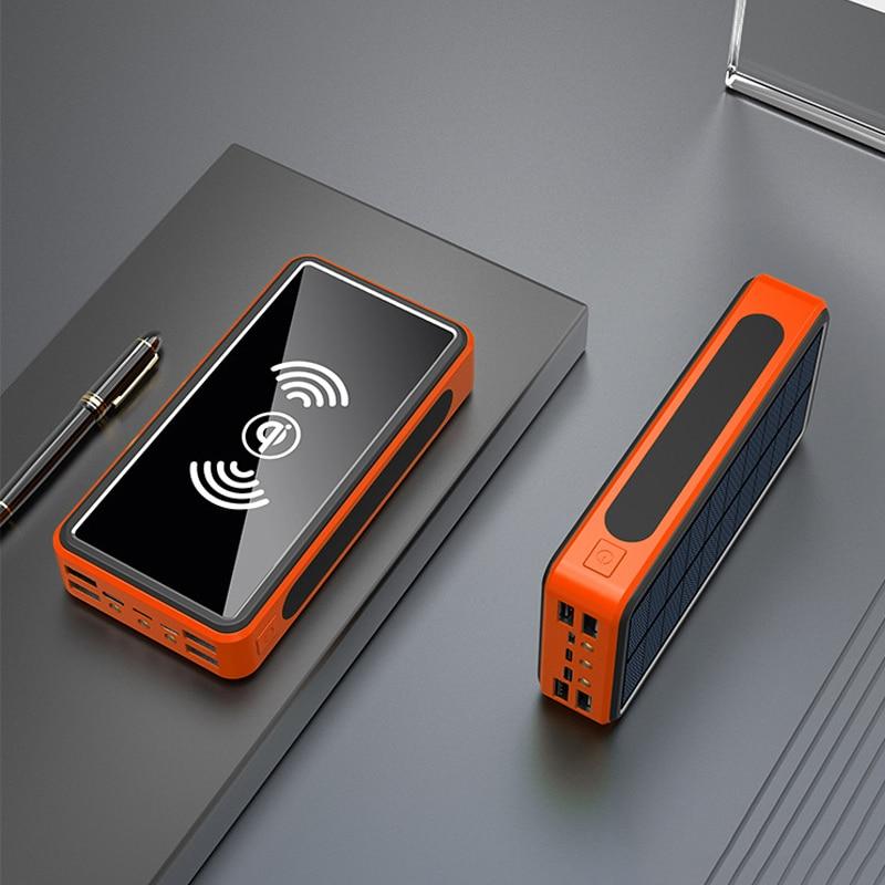 Banco de energía Solar de 50000mAh, cargador inalámbrico Qi, USB tipo C, batería externa para iPhone y Xiaomi