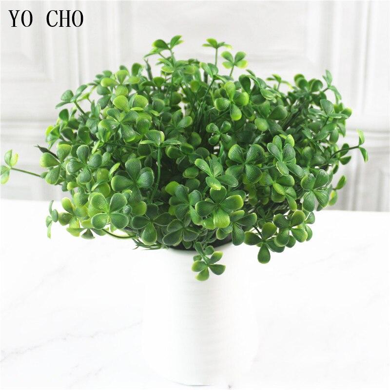 YO CHO 7 Gabel Wasser Gras Eukalyptus Kunststoff Künstliche Pflanzen Grün Gras Kunststoff Pflanzen Hochzeit Hause Dekoration Tisch Dekor