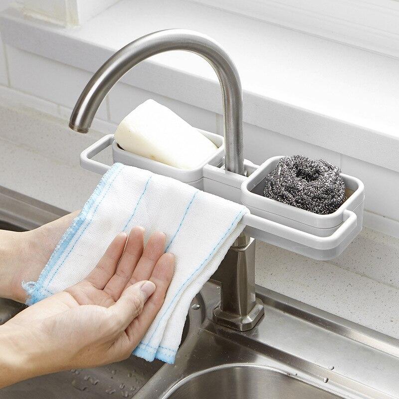 KitchenAce Plastic Sponges Holder Drainer Rack Kitchen Bathroom Sink Gaget Towel Scrubbers Soap Storage & Organizer Gagets&Tools