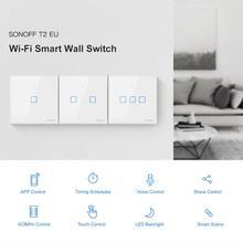 SONOFF 1/2/3 Gang 433 원격 T2 TX SmartSwitch Wifi 벽 터치 스위치, 테두리 홈 RF/음성/APP/터치 컨트롤 EU