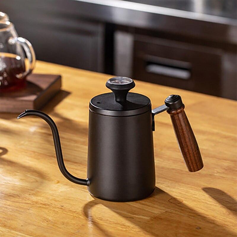 600 مللي إبريق قهوة مقبض خشبي Gooseneck غلاية اليد بالتنقيط إبريق قهوة 304 الفولاذ المقاوم للصدأ القهوة باريستا اكسسوارات مع غطاء