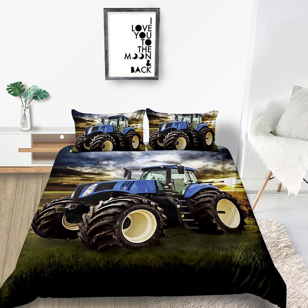 Traktor Bettwäsche Set Einzel Modische Kühle Dusk Grünland Bettbezug 3D König Königin Twin Voll Doppel Komfortable Bett Set