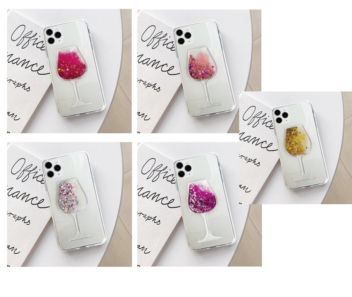Wine Glass Glitter Star Water Liquid Phone Case for Samsung GALAXY A01 A10 A10S A11 A20 A30 A20E A10E M10S M20S Soft TPU Cover