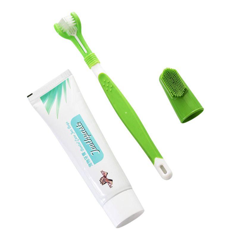 Juego de cepillo de dientes para mascotas cachorro caliente sabor a vainilla/carne cepillo de dientes pasta de dientes perro gato dedo cepillo de respaldo