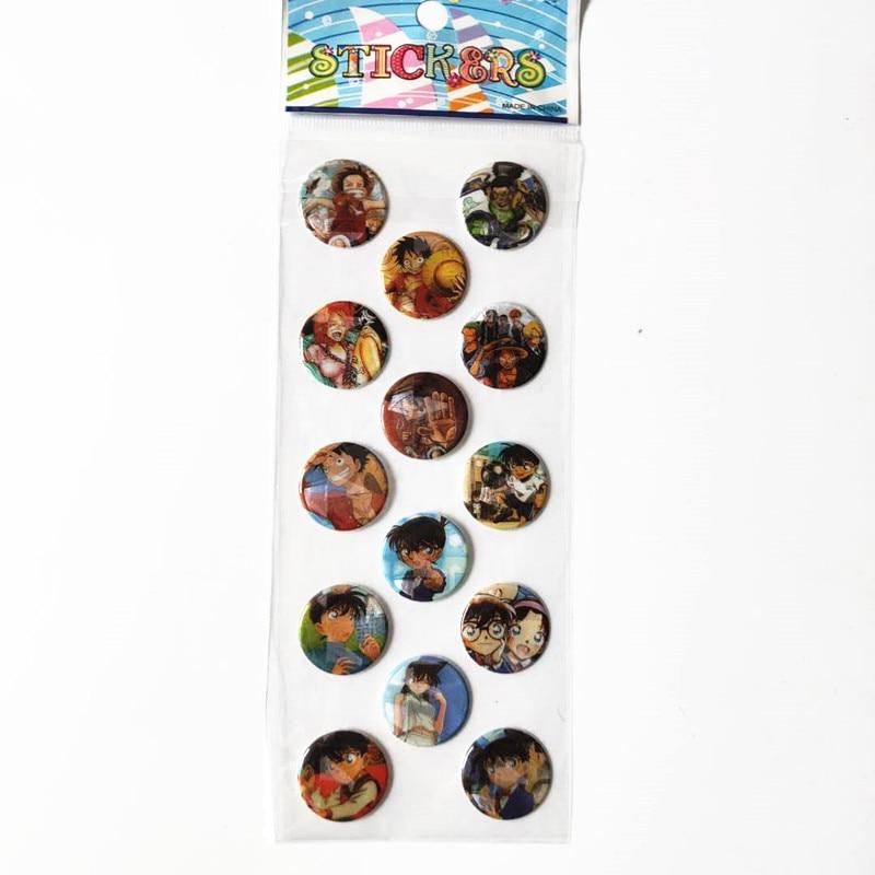Figuras de acción de ONE PIECE, 6 hojas de pegatinas de Detective Conan, Luffy y Kudo Shinichi Conan, insignia de cabeza redonda para retrato, vestidos de burbujas