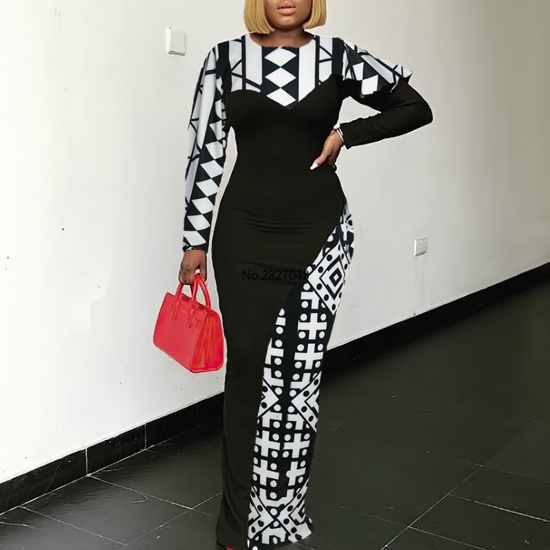 Mulheres vestidos de impressão retalhos preto branco bloco cor manga longa bodycon maxi retro elegante moda modesta feminino vestidos robe