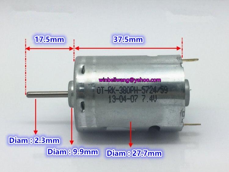 A ESTRENAR 6V 7,4 V 28000RPM 380 alta velocidad micro CC motor RK-380PH taladro eléctrico carbón cepillo brush