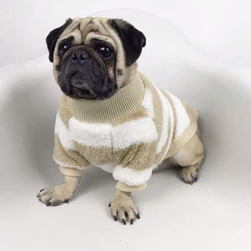 Buldogue francês velo jaqueta moda casaco inverno quente roupas para cães de estimação pequeno médio corgi chihuahua pug camisola klc11