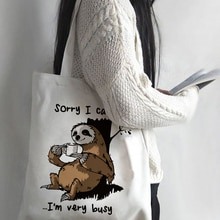 Women Cartoon Sloth Print Shopping Bag Tote Eco Handbag Tumblr Graphic Students College Style Simple