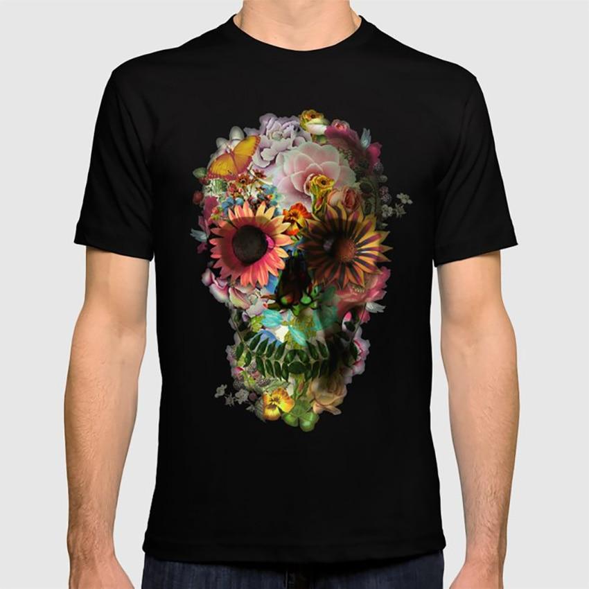 Camiseta calavera 2 con ilustración de surrealismo calavera de terror Ali Gulec arte Floral Ikiiki