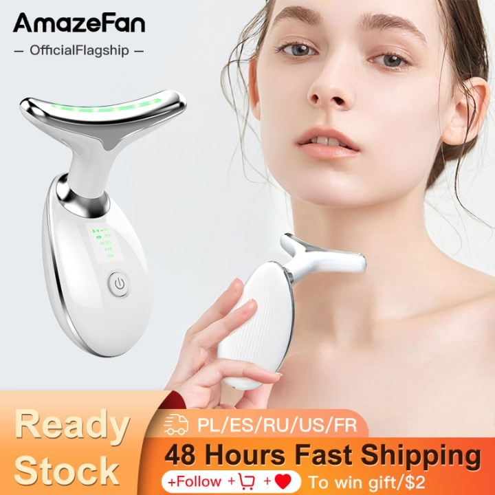 AmazeFan Neck Facial Beauty Instrument Massage LED Light Therapy Skin Tightening Lifting Wrinkle Removal Double Chin Skin Care
