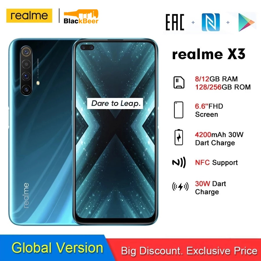 realme X3 Snapdragon 855+ Smartphone Octa Core 6.6 Inch 2400x1080 Display Mobile Phone 30W Flash Charge 4G Cellphone NFC 4200mAh