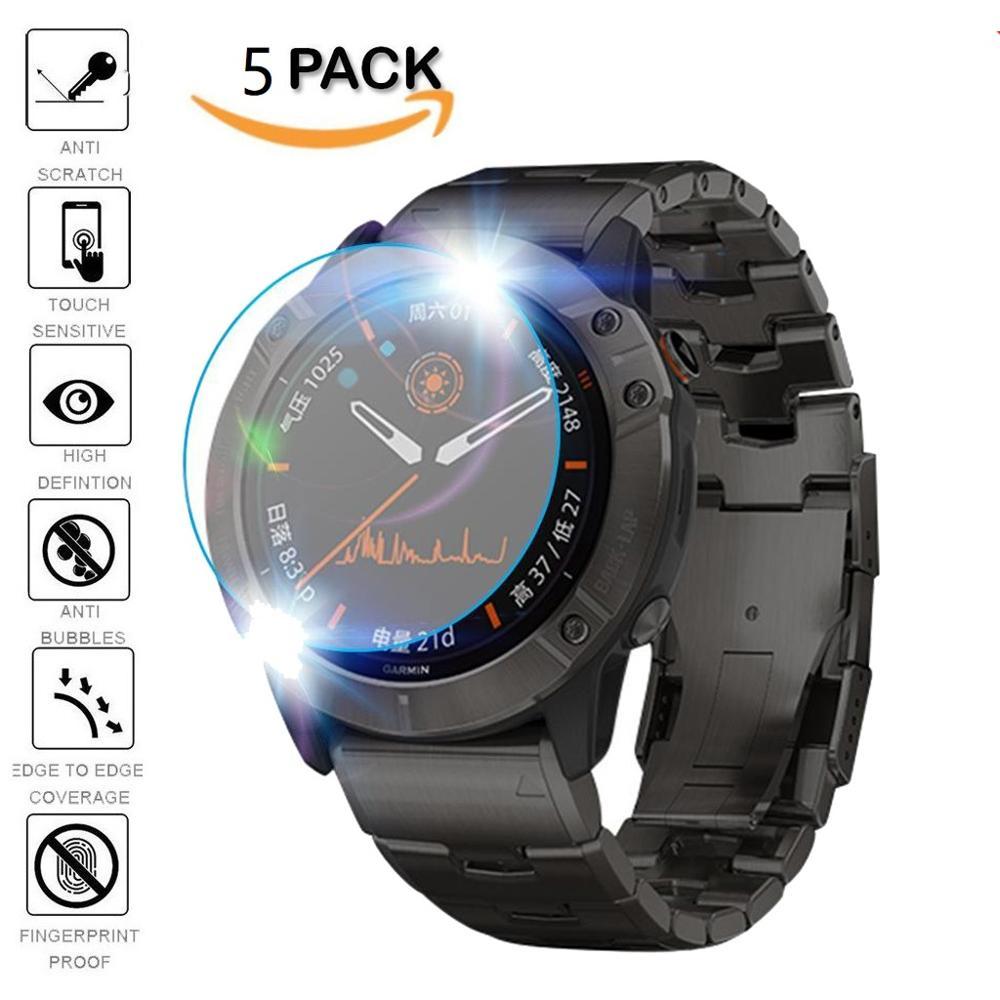 5 uds protectora para Garmin Fenix 5 Garmin Fenix 5 5S Plus 6S 6X6 Pro Ultra claro templado Film de vidrio para protección de pantalla Protector ver películas