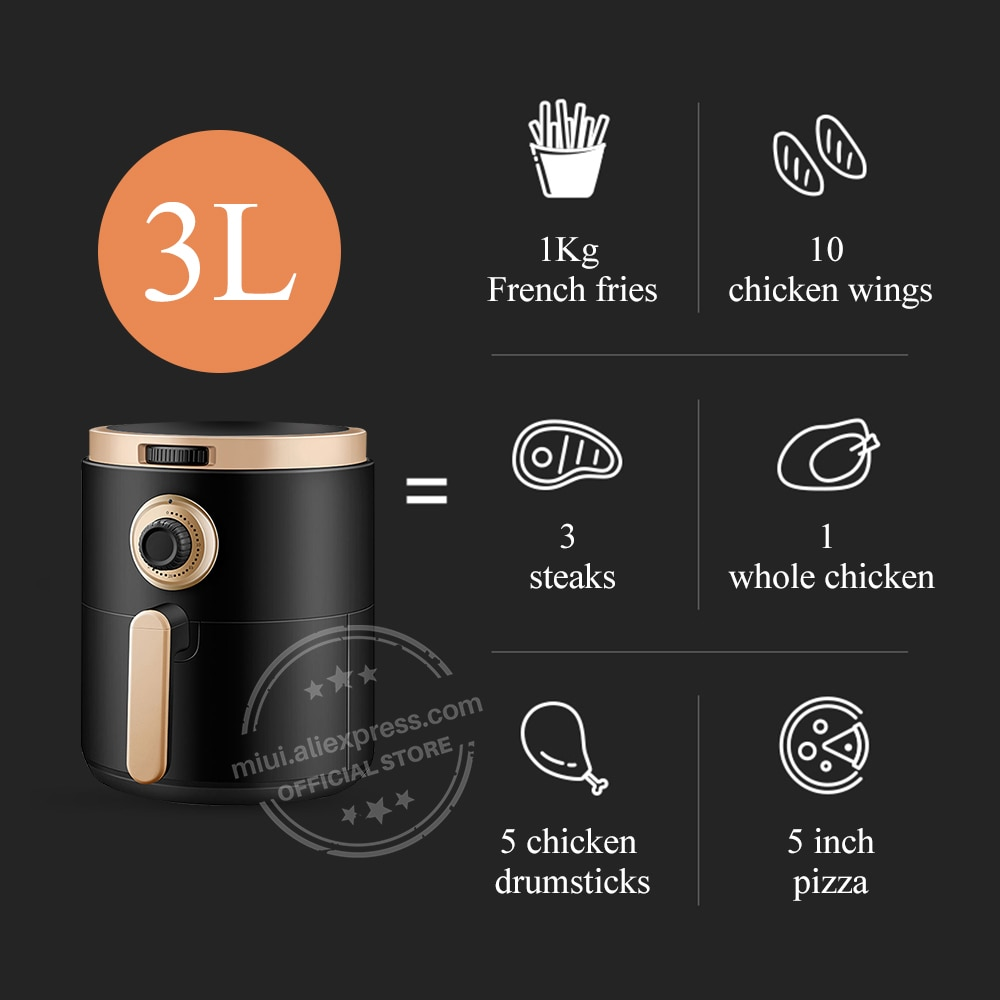 MIUI Air Fryer No Oil Home Intelligent  3L Large Capacity Multifunction Electric Deep Fryer without Oil Professional-Design