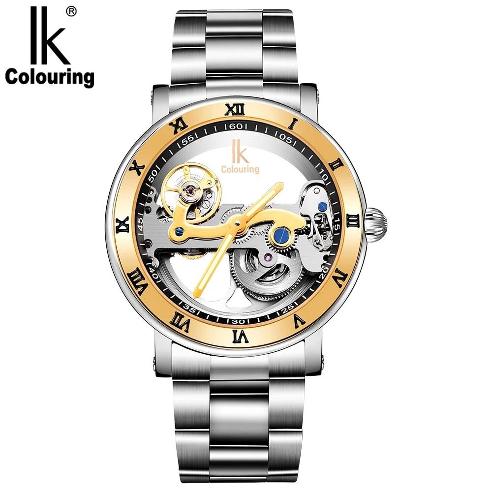 Оригинальные мужские механические наручные часы IK цветные с автоматической обмоткой и перемычкой мужские часы из нержавеющей стали Мужски...