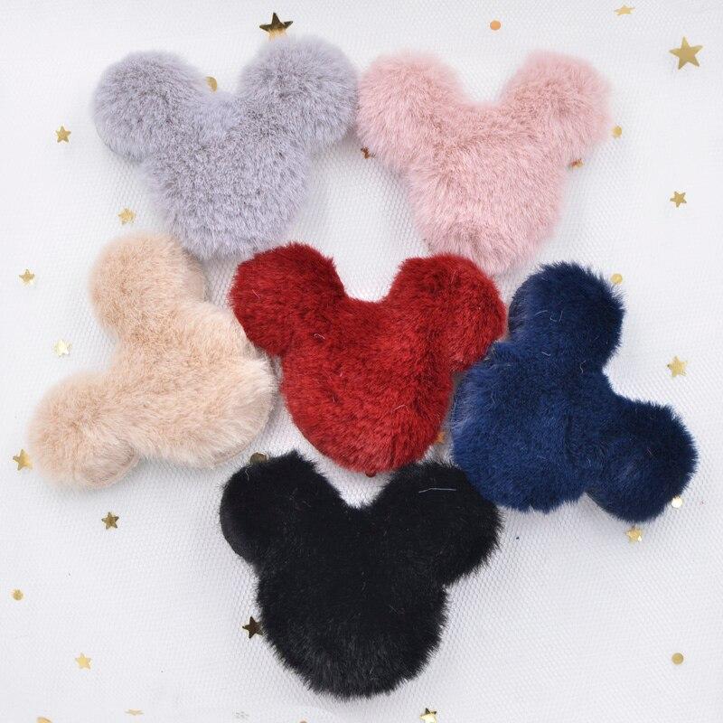 Venta al por mayor 55mm pelo de conejo de felpa suave cabeza de ratón apliques para ropa parches de costura DIY Clips para el cabello arco tocado decoración S72