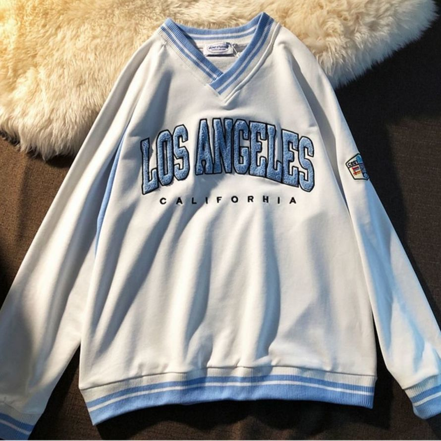 Retro Baseball V-neck Letter Embroidery Sweatshirt Women Harajuku Hoodie 2021New Brand Fashion Overszied Tops Teens Girls Casual