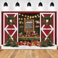 yeele christmas photography backdrop photocall red door tree gift baby portrait party decor background photo studio photographic