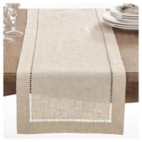 camellia casaclassic hemstitch table runnerspecially treated polyesterlinen look washable naturewhite color