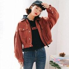 Jeans Jacket Women Autumn 2019 Short Casual Outwear Coat Ladies Chic Denim Jackets Coats Korean Style Womens Streetwear Orange