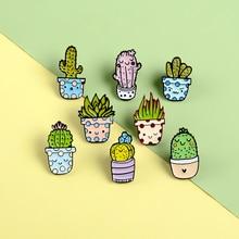 Grün Rosa Botanik Kaktus Brosche Topfpflanze Stacheldraht Sukkulenten Pflanzen Schöne Schüchtern Witzigen Gesicht Speckle Blumentopf kinder Pins Geschenke