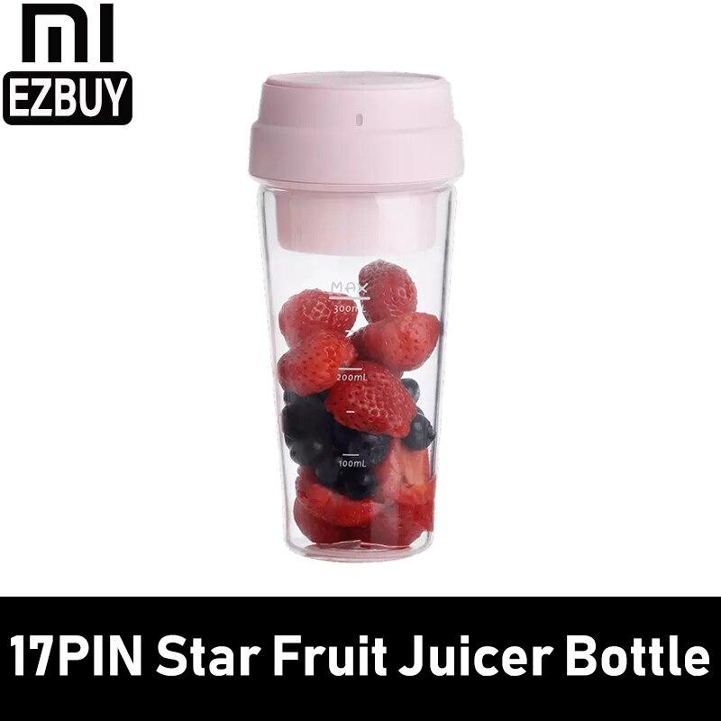 Xiaomi 17PIN 400ML estrella exprimidor de fruta botella portátil DIY exprimidor de jugo taza de carga magnética de viaje al aire libre 30 segundos rosa
