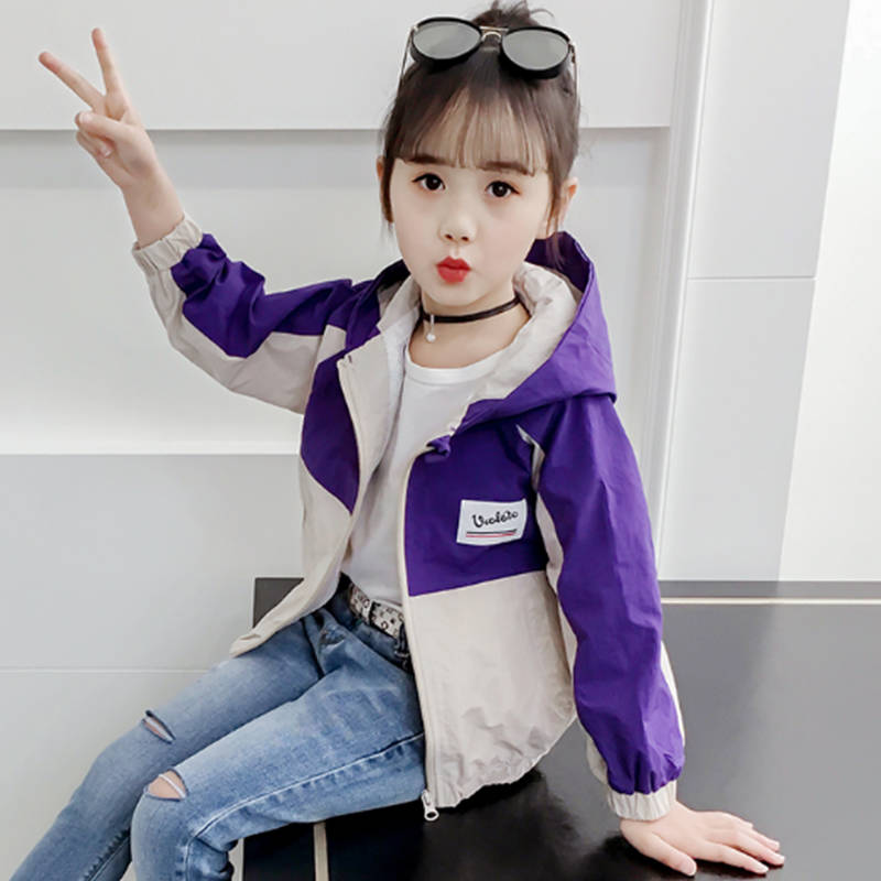 2020 Spring Jacket for Girls Coats Hooded Patchwork Thin Pattern Baby Clothes Outerwear Kids Windbreaker Autumn Teen Jackets cootelili 80 130cm fashion printing windbreaker kids clothes spring baby jacket for boys autumn girls cool outerwear coats