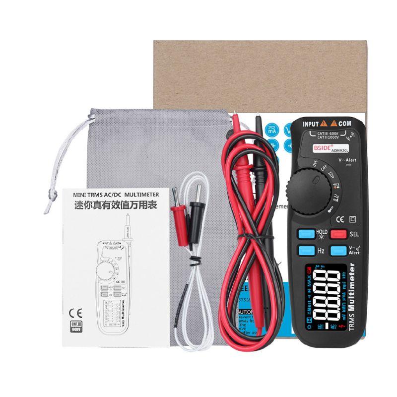 Pantalla LCD en Color multifunción multímetro Digital rango automático real RMS Temp Tester voltímetro ampermetro