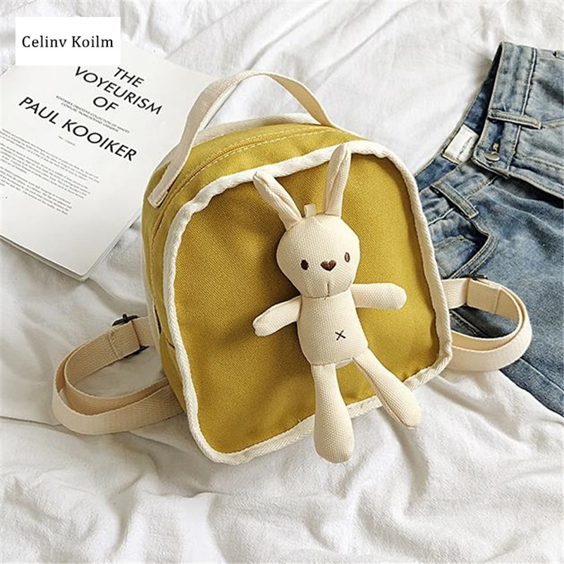 Celinv Koilm Cute Rabbit Decoration Small Fresh Shoulder Bags Female Autumn And Winter New Canvas Wild Fashion Travel Backpack