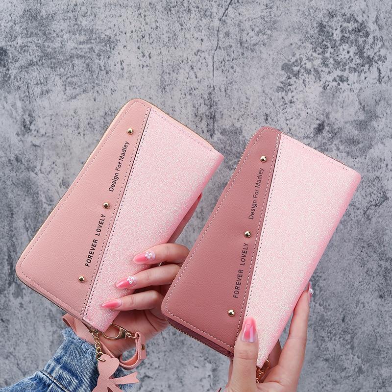 Letter Fashion Rivet Patchwork Zipper Long Card Holder Ladies Coin Purse Womens Wallets Large Wallet with Secret Compartment