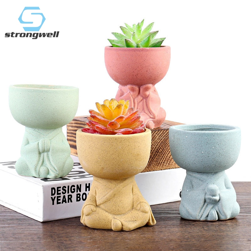 Strongwell Minimalist Buddha Flower Pots Home Decoration Accessories Succulent Flowerpots Planter Desktop Decoration Ornament