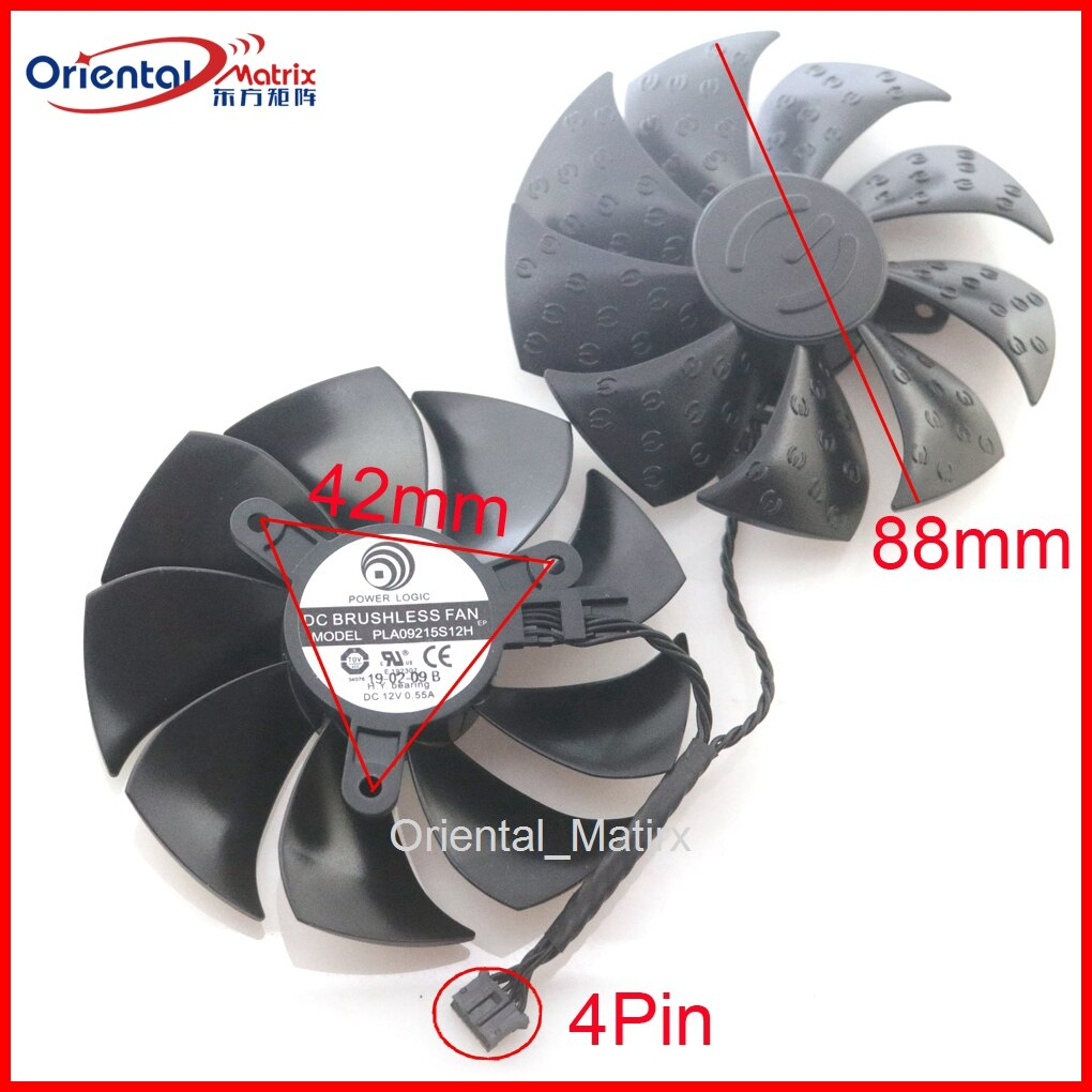 2pcs/lot PLD09215S12H 12V 0.55A 86mm 4Pin For EVGA GTX1660 XC Ultra RTX 2080ti RTX 2080 2070 SUPER XC Graphics Card Cooling Fan