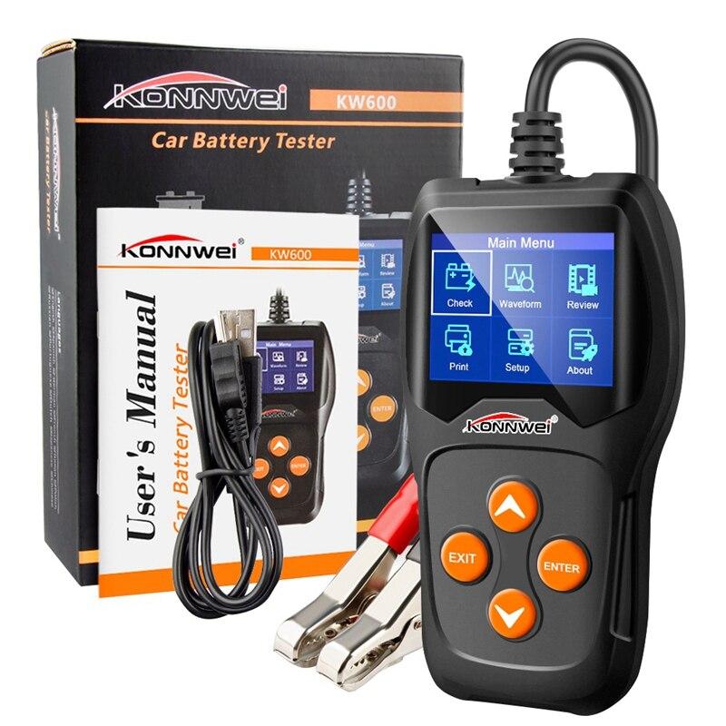 Konnwei New Kw600 Auto Battery Analyzer 100 To 2000Cca Car Tester 12V Digital Color Screen Cranking Charging Car Diagnostic