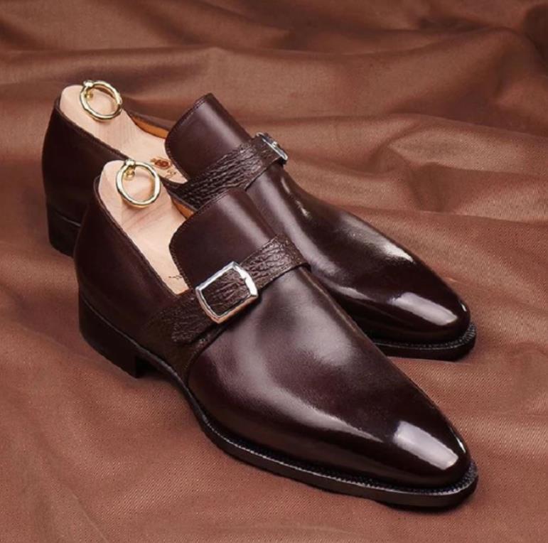 Men PU Leather Shoes Low Heel Shoes Buckle Dress Shoes Brogue Shoes Spring Ankle Boots Vintage Class