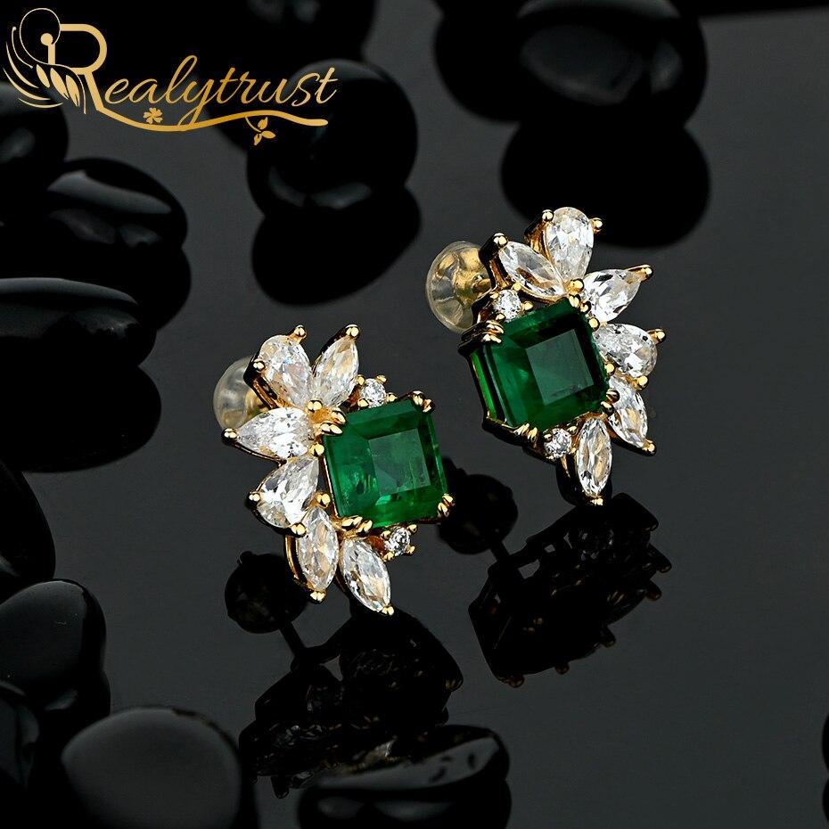 Realytrust 18K Gold 7*7mm Emerald Diamond Stud Earrings for Women Solid 925 Sterling Silver Gemstone