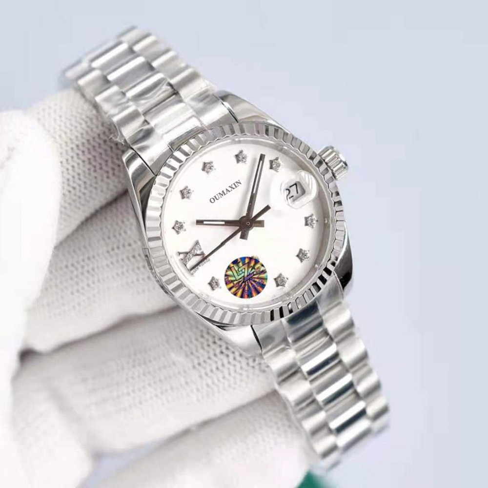 Luxury brand ladies watch automatic mechanical 26.5mm sapphire glass white dial 316stainless steel clock