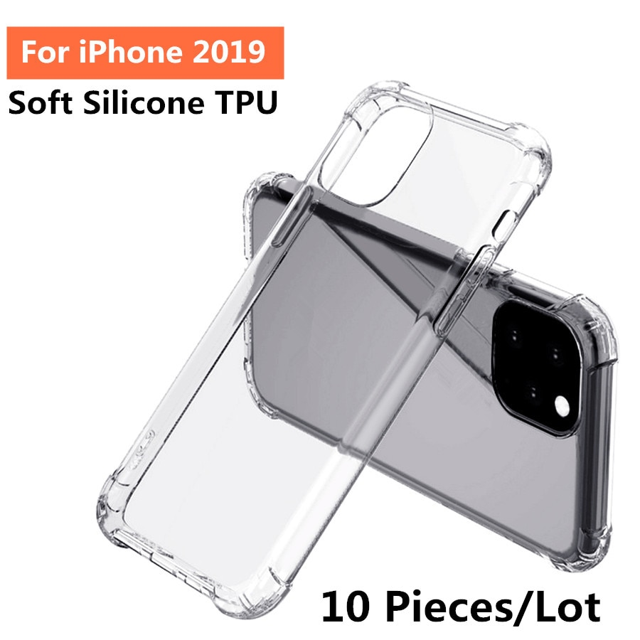 Lote de 10 unidades de fundas transparentes de silicona blanda, ultrafina y antigolpes para iPhone 11 Pro Max 2019