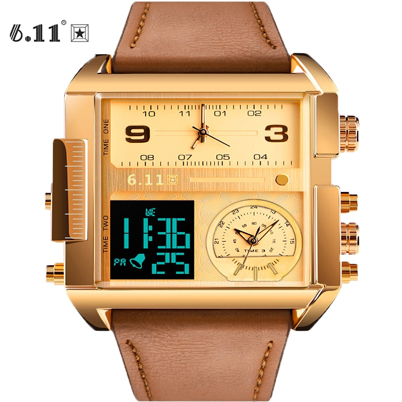 6.11 Mens Top New Three Time Zone Watch LED Watch Men Square Watch Waterproof Sport Watch Digital Watch Relogio Masculino
