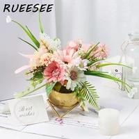 artificial flowers with ceramic vase silk rose hydrangea lavender sunflower fake plants flower arrangements decorations for home