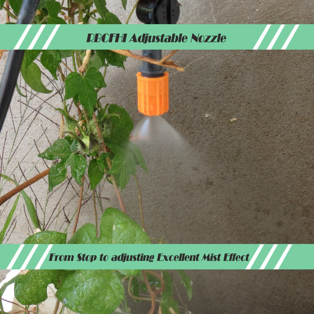 RBCFHI 5-50M 1/4'' Watering Kits Automatic Garden Micro Drip Irrigation System with Adjustable Emitter Misting Nozzle Spay