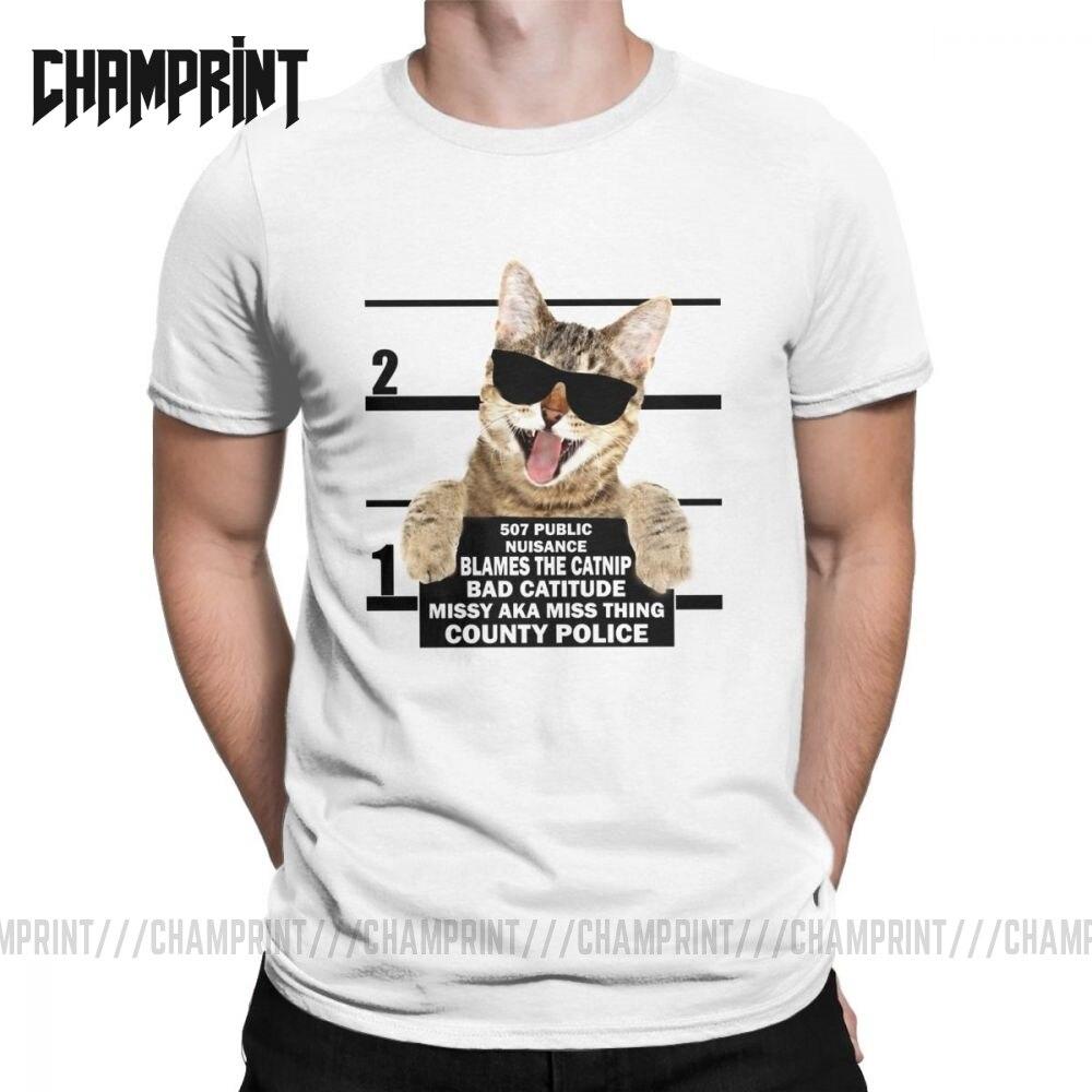 Camiseta Catnip Made Me Do It Cat Mugshot Catitude para hombres, camiseta de gatitos y mascotas Love Meow Animal, camisetas de manga corta 100% de algodón