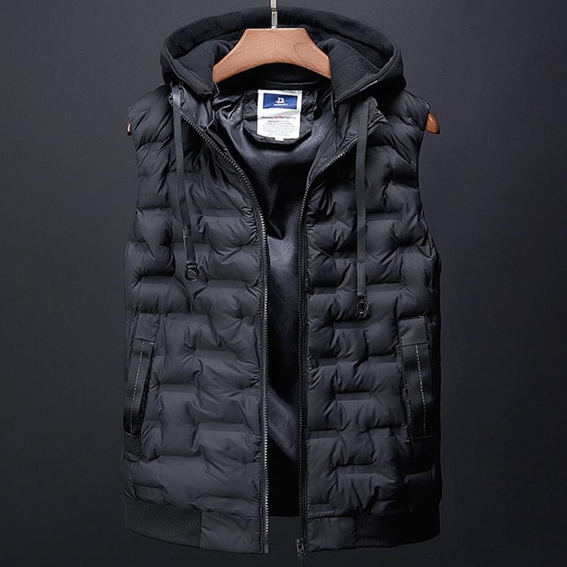 Chaqueta sin mangas con capucha desmontable de moda para hombre, chaleco con relleno de algodón, chaleco informal, chaleco masculino, chaleco para regalo de padre, VT-258