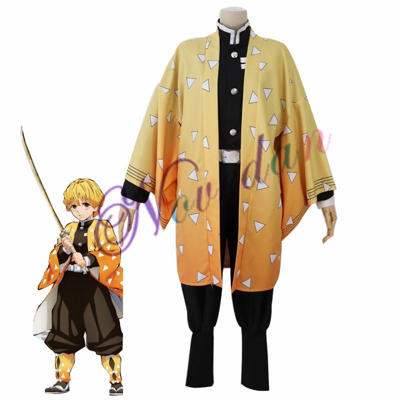 Костюм для косплея аниме Kimetsu no Yaiba, костюм убийцы демонов, агацума зенитсу, одежда для косплея, кимоно на Хэллоуин для взрослых и мужчин