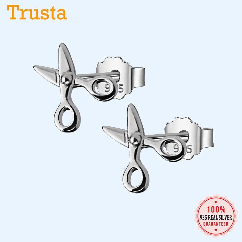 Trusta, 100% Стерлинговое Серебро 925 пробы, женские модные милые миниатюрные серьги-гвоздики с ножницами, подарок для школьниц, подарок для дочери DS37