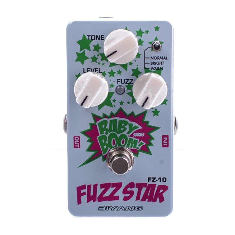 Pedal de guitarra eléctrica Biyang Baby Boom FZ-10, tres modelos, pedal con efecto de distorsión de la estrella Fuzz, Bypass verdadero con conector de pedal