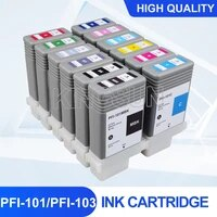 12pcs pfi101 pfi103 empty refillable ink cartridge with chips pfi101 pfi103 for canon ipf5000 ipf5100 ipf6100 ipf6200 130ml