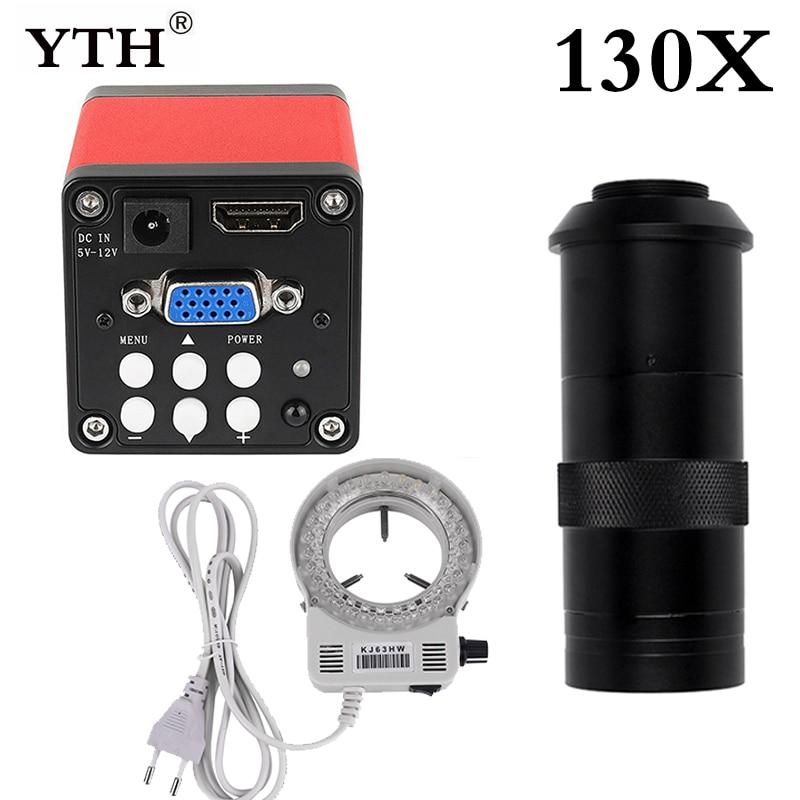 Digital + Ajustável Terno para Reparação de Solda Hdmi Completo Microscópio Monocular Câmera 130x Lente 56 Luz Led Telefone Vga 13mp hd