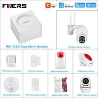 FUERS     Kit systeme dalarme de securite domestique sans fil  wi-fi  GSM  Tuya  controle a distance avec application mobile  detection de mouvement PIR