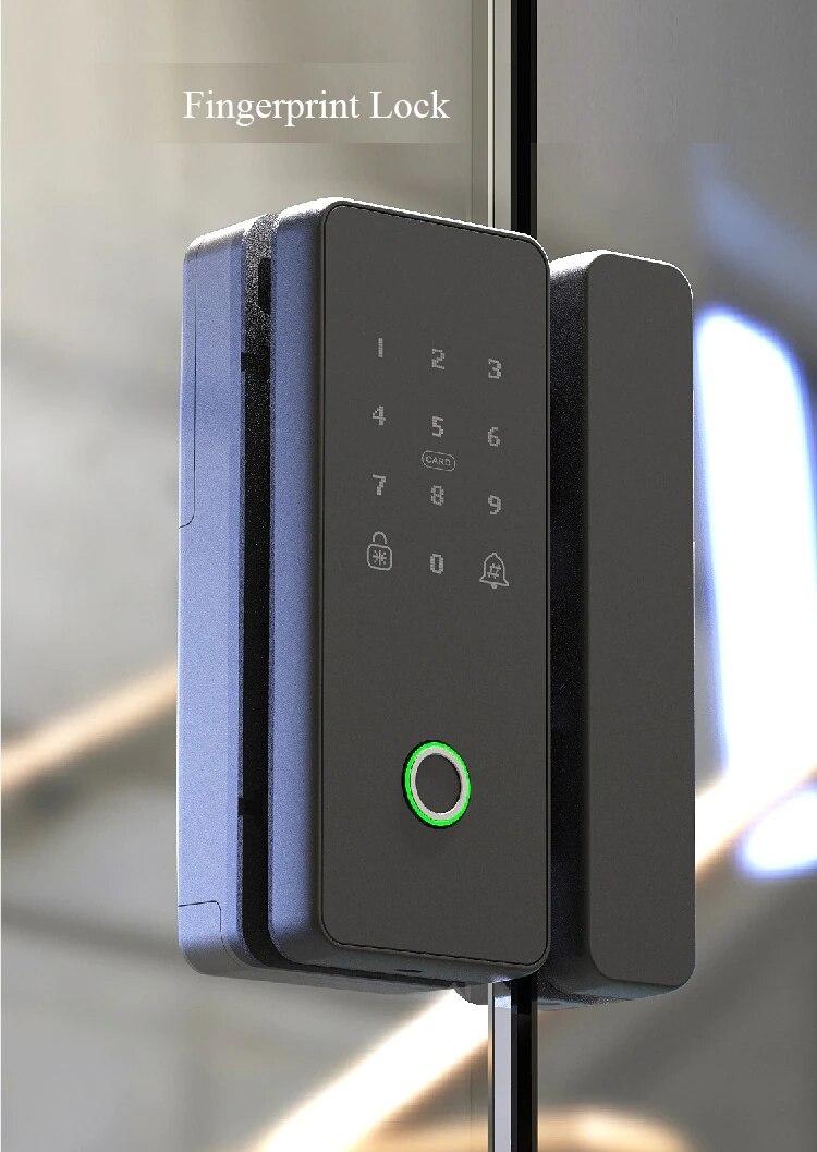 Office Double Glass Door Wifi Fingerprint Electronic Blue Tooth Smart Door Lock With Mechanical Key enlarge