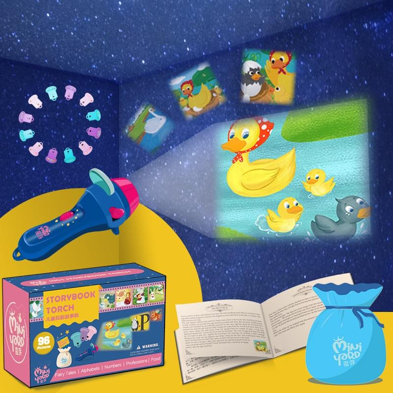 Мини-Проекционный фонарик, детская книга с фонариком, обучающая игрушка с подсветкой, ночник для дошкольников, Сказочная проекционная ламп...